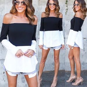 niloupdx Tops - Black and white off shoulder